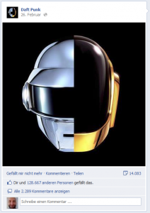 Daft Punk Posting bei Facebook.